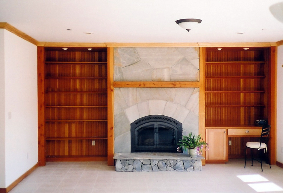 Silver Quartzite Fireplace & Douglas Fir Shelving Corte Madera, California