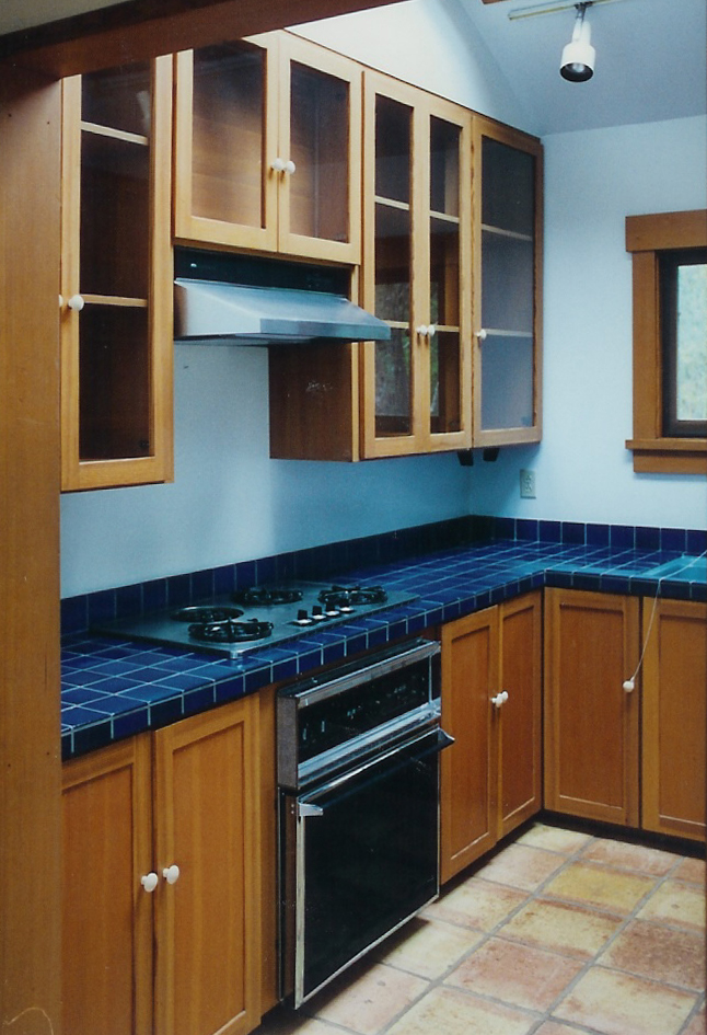 Douglas Fir Kitchen Cabinetry & Indigo Blue Tile Larkspur, California